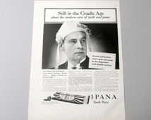1937 Ipana Tooth Paste Ad, Vintage 1930s Dental Care Advertisement, Black and White Toothpaste Ad, Dental Office Decor, Paper Ephemera