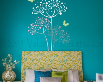 Dandelion wall decal, dandelion wall art, butterfly wall decor, dandelion decor, girls room decor, flower wall decor, flower wall decals
