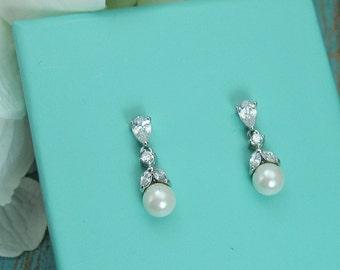 Crystal Pearl Earrings, pearl bridal earrings, cubic zirconia earrings, wedding jewelry, wedding earrings, bridal earrings, Kathy Earrings