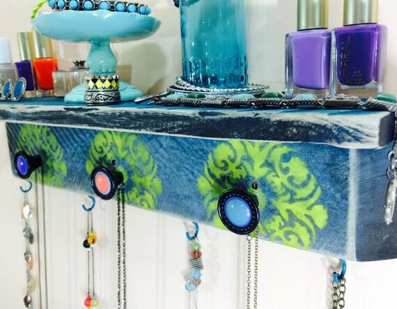 Floating shelves Pallet wood  / reclaimed Wall hanging shelf /accent shelving/ jewelry holder organizer storage mandalas 3 knobs 4 hooks