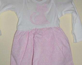 Baby Girl's Onesie Dress, Pink Cat, Gerber, Long Sleeve, Newborn