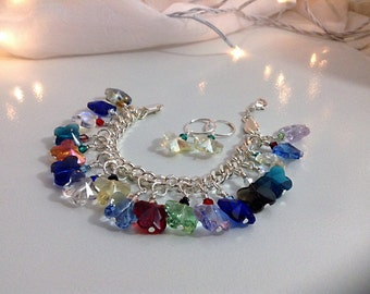 Colorful crystal butterfly charm bracelet