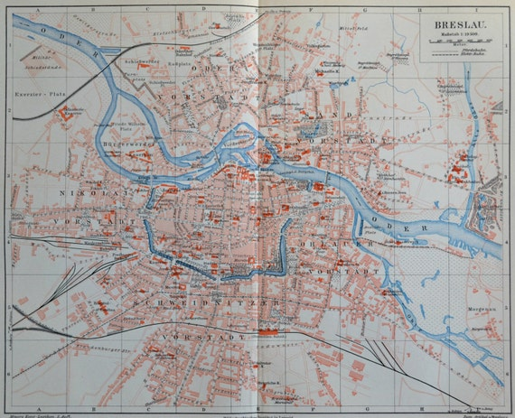 Breslau map. Wrocław, Poland.  Old book plate, 1897. Antique  illustration. 118 years lithograph. 9'6 x  11'9 inches.