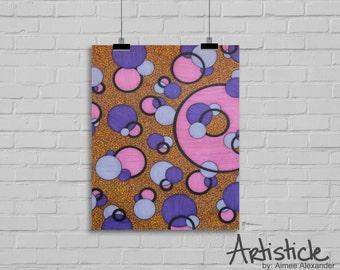 Pink Art Print - Girls Room Decor - Geometric Artwork - Purple Yellow Art - Modern Home Decor - Colorful Art Print - Circle Drawing