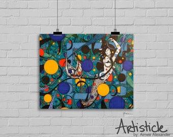 Mermaid Art Print - Beach Home Decor - Girls Room Art - Fantasy Artwork - Mermaid Drawing - Colorful Art - Under The Sea Art - Geometric Art