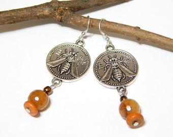Queen Bee Earrings - Tibetan Silver Bee Earrings - With Faceted Amber Czech Glass Beads