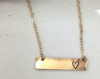 heart necklace, heart gold bar necklace, Gold bar, Love, Glyph