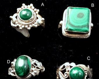 Size 8 Sterling Silver Ring. Green Malachite, Square, Filigree,or Sunburst . free US ship