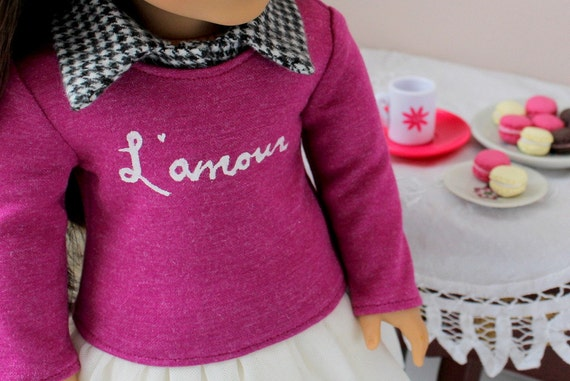 "L'amour Sweater and Collar for American Girl or 18"" Doll"