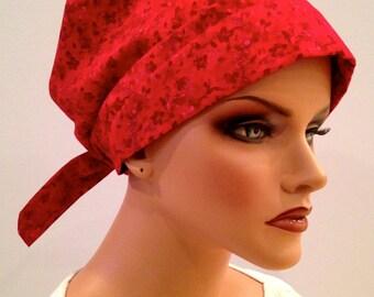 Sandra Scarf, A Women's Surgical Scrub Cap, Cancer Headwear, Chemo Head Scarf, Alopecia Hat, Head Wrap, Head Cover, Hair Loss - Red Flowers