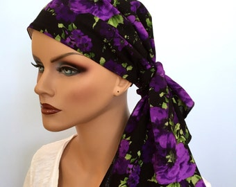 Jessica Pre-Tied Head Scarf, Women's Cancer Headwear, Chemo Scarf, Alopecia Hat, Head Wrap, Head Cover for Hair Loss - Purple Poppies
