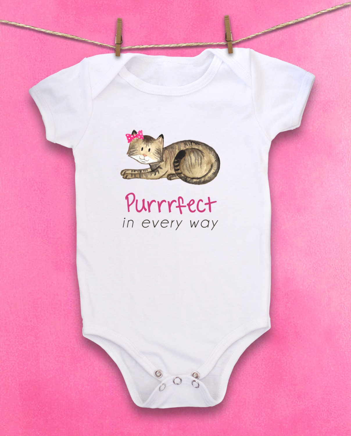 Cute baby bodysuit Unique baby clothes Baby one piece Cat