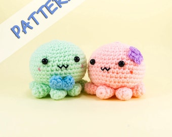 Octopus Couple Amigurumi Pattern  -- Crochet toy couple wedding gift