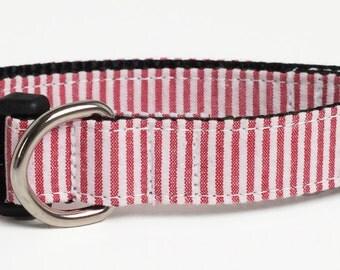 Red Seersucker Dog Collar