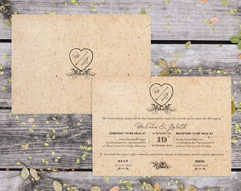 DIY Romantic Vintage Love Heart Monogram Wedding Invitation