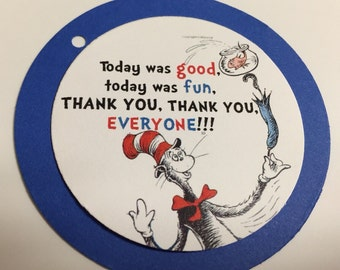 Set of 25 Dr. Seuss Thank You Everyone Gift/Favor Tags (physical item not digital download)