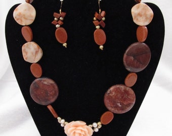 Pink Rose and Stone Bead - Princess Necklace and Earrings