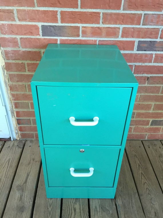 Vintage Turquoise Green 2 Two Drawer Metal File Cabinet