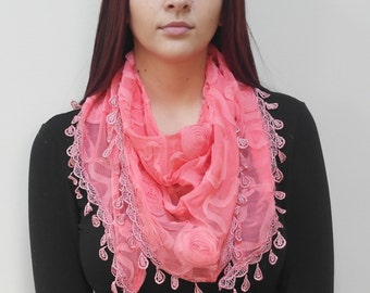 FREE SHIPPING in USA- Coral Chiffon Triangle Fashion Scarf with Flower Designs and Matching Fringes/ women's chiffon shawl/ gift for her