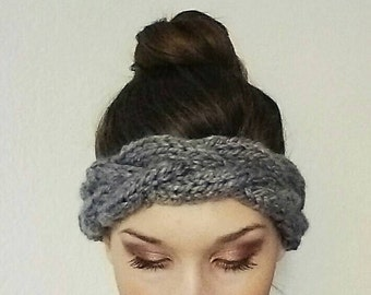 Braided Chunky Knit Headband//Headband Color Featured In Heather Gray//Range In Sizes XS-XL