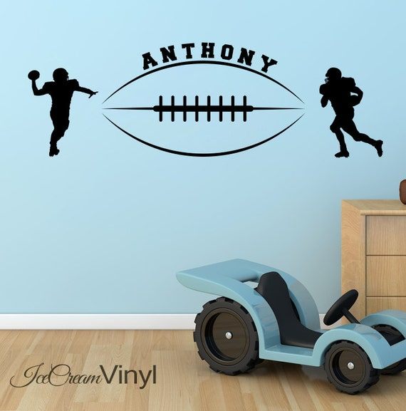 Football Wall Decal with Name for Boys Girls Room Playroom Nursery Vinyl Sports Childrens Decor