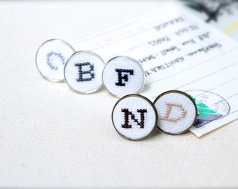 Initial Hand Embroidered Cufflinks Personalized Custom Valentine S Gift Idea For Him Wedding Anniversary