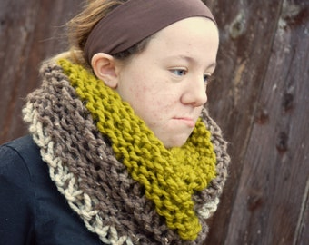 bulky ombre handknit oversized chunky scarf cowl - oatmeal brown and chartreuse