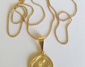 Necklace - Saint Mary Magdalene 17mm Medal Necklace - 18K Gold Vermeil