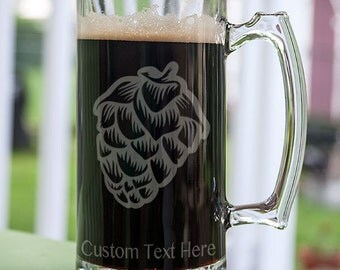Hop Cone Customizable Etched Glassware Stein Beer Mug Barware Gift