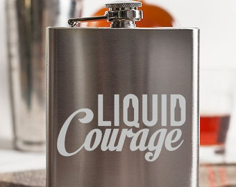 Liquid Courage Customizable Etched Stainless Steel Flask Barware Gift