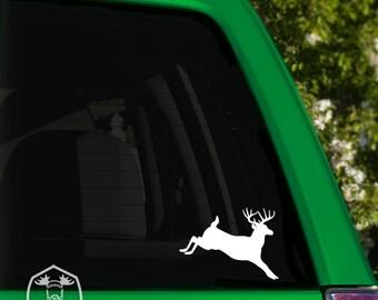Jumping Buck Deer Print Car Window Decal