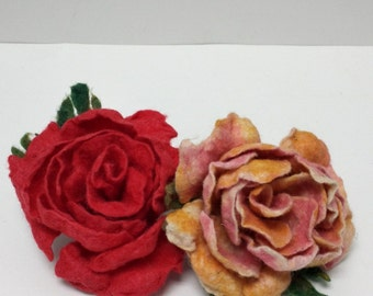 Felted Roses (Pair)