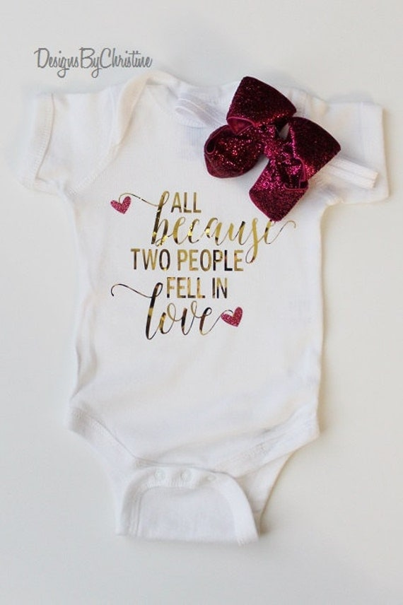 Newborn Metallic Gold White Onesie. All because two people