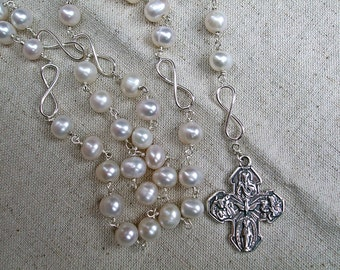 Dominican/Catholic Rosary Beads with Freshwater Pearls and Sterling Silver