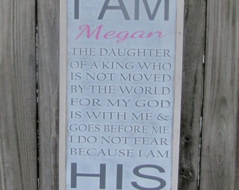 I Am His Wood Sign Personalized Wooden Sign Christian Wall Art Inspirational Sign Hand Painted Sign 1x2 Christmas Gift