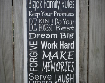 Personalized Family Rules Customizable Wooden Sign Personalized Wood Sign 1'x2' Wall Art