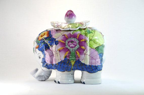 Vintage ceramic oriental hand painted elephant by woosterandjeeves - Vintage elephant cookie jar ...