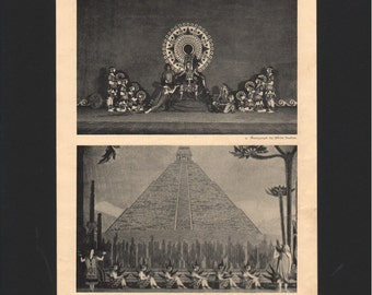 "Photograph from ""The Dance of Life"", 1930s, Xochitl, a Toltec Dance Drama, matted in black  - 000162M"