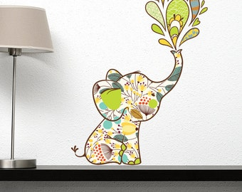Flowery Elephant Wall Decal
