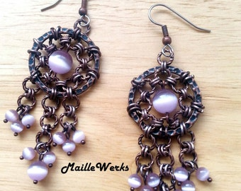 Lilac Purple Antique Copper Chainmaille Chandelier Dreamcatcher Earrings Fringe Cat's Eye Beaded Rustic Jewelry Medieval Rustic Chain Mail