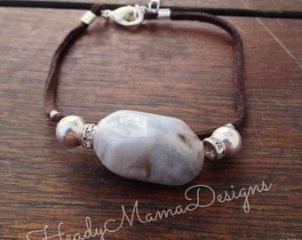 925 Silver Plated Aquamarine Gemstone Bracelet Adjustable