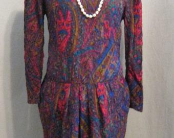 """Vintage 90s LOUIS FERAUD Paris Silk Matelasse DRESS  Classic Style  Bust 36"""""""