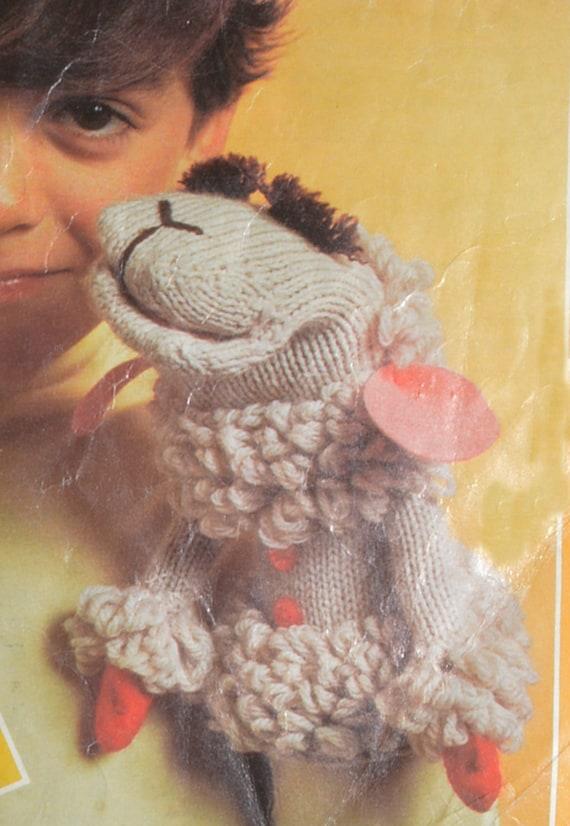 PDF lamb chop vintage knitting crochet pattern Lamb Chop glove