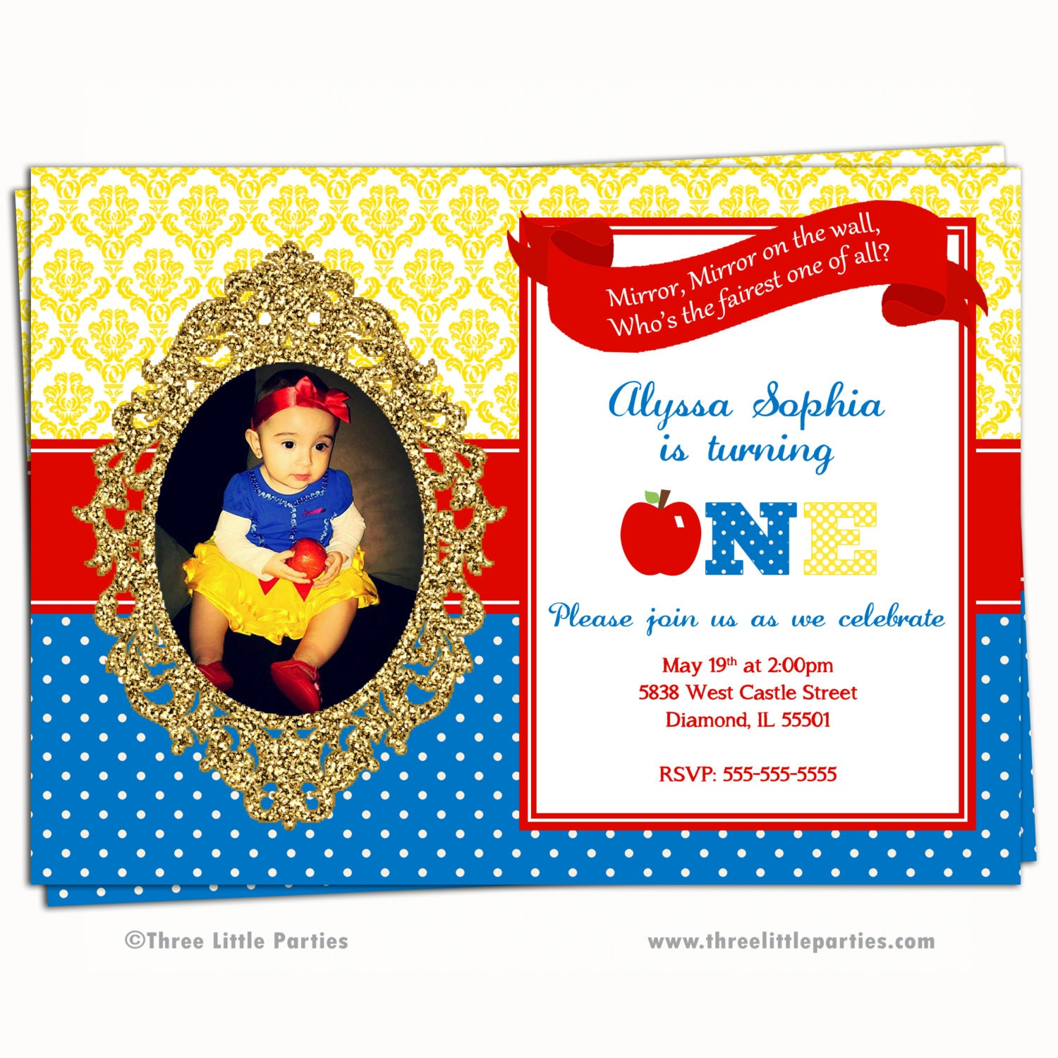 snowwhite invitation | etsy, Birthday invitations