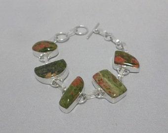 Beautiful 925 Sterling Silver Unakite Bracelet