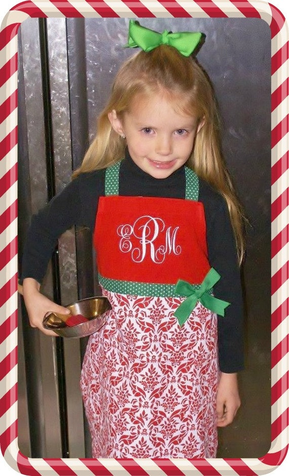 Childs Christmas Apron, Personalized Christmas Apron, Monogrammed Apron, Monogrammed Smock, Girls Apron, Custom Childs Apron