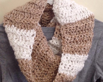 Tan and White Cowl, Infinity Scarf, Christmas Gift, Winter Scarf