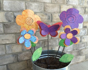 Metal Garden Art Garden Stake Pink, Orange and Purple Butterfly
