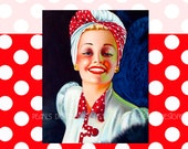 Retro Red Polka Dot, etsy shop banner, vintage lady, instant download, blank file, 1950s, turban hat, red white, pin up, retro vintage