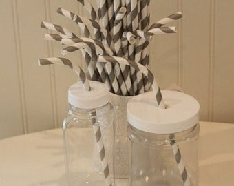 Paper Straws, 20 Grey Striped BENDY Paper Straws, Wedding Drink Straws, Bendable Paper Straws, Flex Straws, Kids Paper Straw, Lemonade Straw